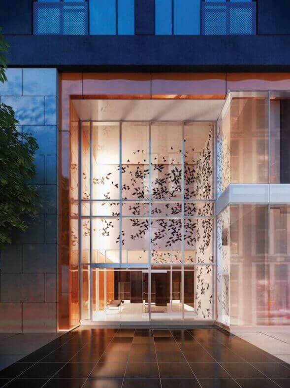 357 King West entrance with double height lobby