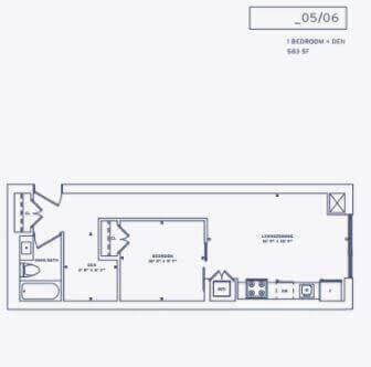 357 King West Floor Plan for Suite 6