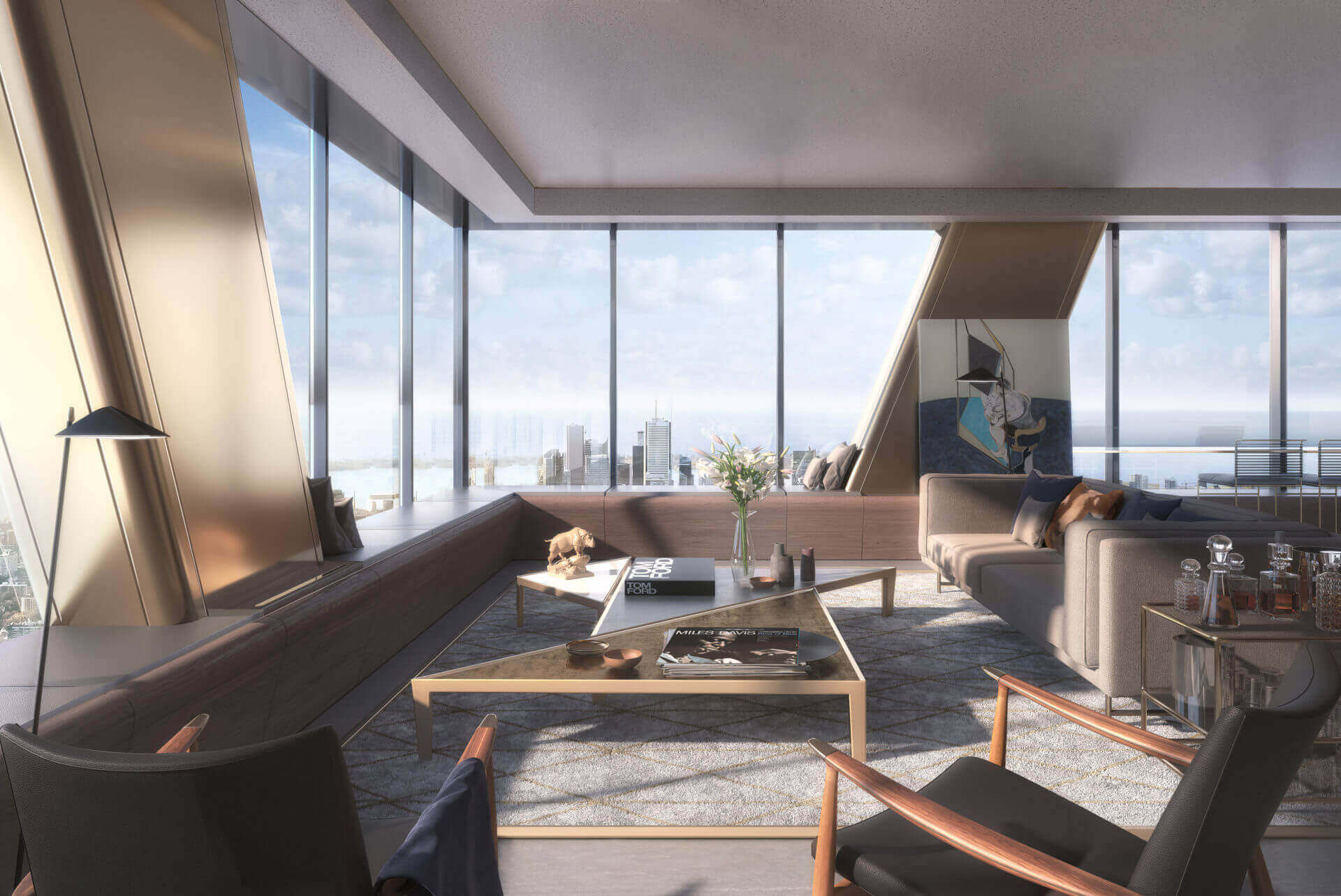 The One Condos Living Room Rendering