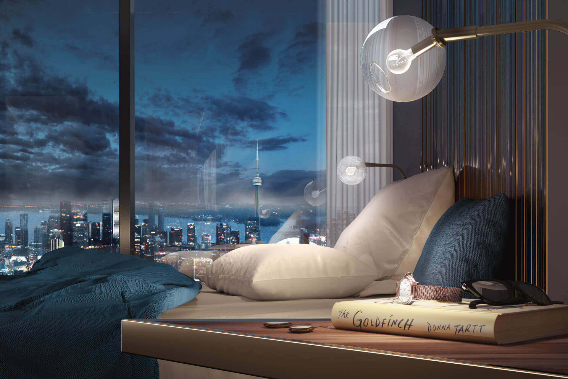 The One Condos Bedroom View Rendering
